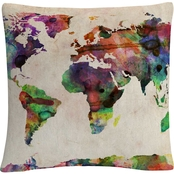 Trademark Fine Art Urban Watercolor World Map Decorative Throw Pillow