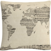 Trademark Fine Art Old Sheet Music World Map Decorative Throw Pillow