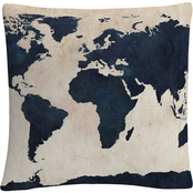 Trademark Fine Art Michael Tompsett 'World Map Navy' Decorative Throw Pillow