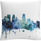 Trademark Fine Art Michael Tompsett Minneapolis Minnesota Blue Teal Skyline Pillow