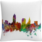 Trademark Fine Art Cleveland Ohio Skyline Decorative Throw Pillow
