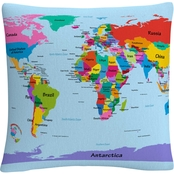 Trademark Fine Art Michael Tompsett 'Childrens World Map' Decorative Throw Pillow