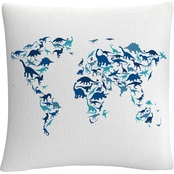 Trademark Fine Art Dinosaur World Map Decorative Throw Pillow