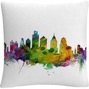 Trademark Fine Art Philadelphia Pennsylvania Skyline Decorative Throw Pillow
