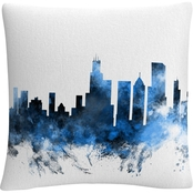 Trademark Fine Art Michael Tompsett Chicago Skyline II Decorative Throw Pillow