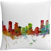 Trademark Fine Art Denver Colorado Skyline Decorative Throw Pillow