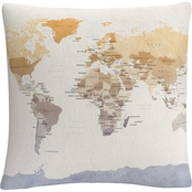Trademark Fine Art Watercolor Political Map of the World Decorative Throw Pillow