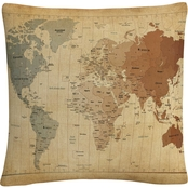 Trademark Fine Art Time Zones Map of the World Decorative Throw Pillow