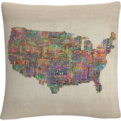 Trademark Fine Art US Cities Text Map VI Decorative Throw Pillow