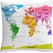 Trademark Fine Art Michael Tompsett World Map for Kids II Decorative Throw Pillow