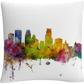 Trademark Fine Arts Michael Tompsett Minneapolis Skyline Decorative Throw Pillow
