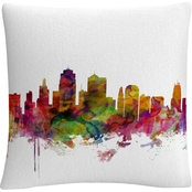 Trademark Fine Art Michael Tompsett Kansas City Skyline 16 x 16 Throw Pillow