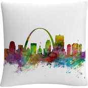Trademark Fine Art Michael Tompsett 'St. Louis Missouri Skyline' Decorative Pillow