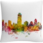 Trademark Fine Art Michael Tompsett Austin Texas Skyline Decorative Throw Pillow