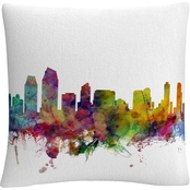 Trademark Fine Art Michael Tompsett San Diego California Skyline Throw Pillow