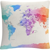 Trademark Fine Art Michael Tompsett Watercolor Political World Map Throw Pillow