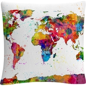 Trademark Fine Art Michael Tompsett Map of the World Watercolor Throw Pillow