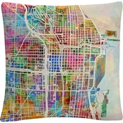 Trademark Fine Art Michael Tompsett Chicago City Street Map II Throw Pillow