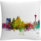 Trademark Fine Art Michael Tompsett San Antonio Texas Skyline Throw Pillow