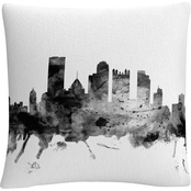 Trademark Fine Art Michael Tompsett 'Pittsburgh PA Skyline B&W' Decorative Pillow
