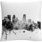 Michael Tompsett 'Minneapolis MN Skyline B&W' 16 x 16 Decorative Throw Pillow