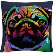 Michael Tompsett 'Pug Dog' 16 in. x 16 in. Decorative Throw Pillow