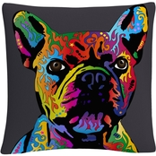 Trademark Fine Art French Bulldog Grey Decorative Throw Pillow