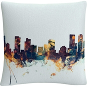 Trademark Fine Art Denver Colorado Skyline Blue Decorative Throw Pillow