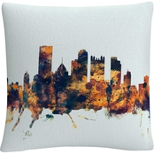 Trademark Fine Art Pittsburgh PA Skyline Blue Decorative Throw Pillow