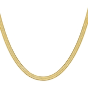 14K Yellow Gold 6.5mm Silky Herringbone Chain Necklace