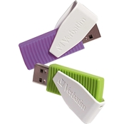 Verbatim 16GB Swivel USB Flash Drive Green Violet 2 pk.
