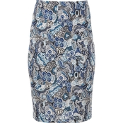 Passports Puff Paisley Pencil Skirt