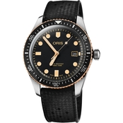 Oris Men's Divers Sixty Five Bronze Rubber 42mm Watch 73377204354RS