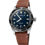 Oris Divers Sixty-Five Men's Diver Watch 40mm Blue Dial Leather Strap 73377074055LS
