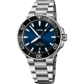 Oris Aquis Date Men's Diver Watch 41mm Blue Dial Metal Bracelet 73377664135MB