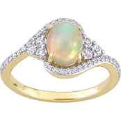 Sofia B. 10K Yellow Gold Opal White Sapphire 1/5 CTW Diamond Oval Twist Ring