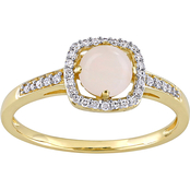 Sofia B. 10K Yellow Gold 5/8 CTW Opal and 1/7 CTW Diamond Halo Ring