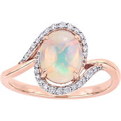 Sofia B. 10K Rose Gold 1 CTW Opal and 1/7 CTW Diamond Oval Halo Ring