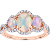 Sofia B. 10K Rose Gold 1 1/4 CTW Opal and 1/3 CTW Diamond 3-Stone Halo Ring