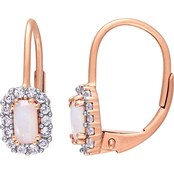 Sofia B. 10K Rose Gold Opal and White Sapphire Halo Earrings