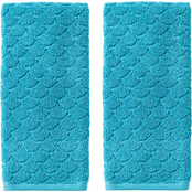 Saturday Knight LTD Ocean Watercolor Scales Hand Towel 2 pc. Set, Blue