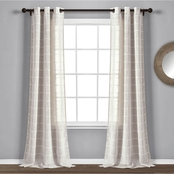 Lush Decor Farmhouse Textured Grommet Sheer Window Curtain Panels 2 pc. Set