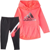 adidas Infant Girls 2 pc. Melange Hooded Top and Tights Set