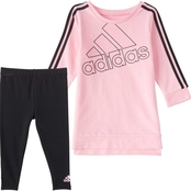 adidas Infant Girls 2 pc. Crew Three Stripe Dress and Tights Set