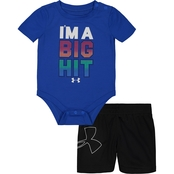 Under Armour Infant Boys I'm a Big Hit Bodysuit and Shorts 2 pc. Set