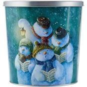 Hickory Farms Singing Snowmen Popcorn Tin 18 oz.