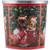 Hickory Farms Holiday Puppies In Present Popcorn Tin 18 oz.