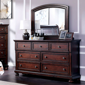 Furniture of America Wells 7 Drawer Dresser and Mirror