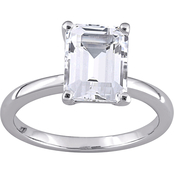 Sofia B. 10K White Gold 3 3/4 CTW Emerald Cut Created White Sapphire Solitaire Ring