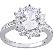 Sterling Silver Created White Sapphire and Diamond Accent Halo Ring Size 7